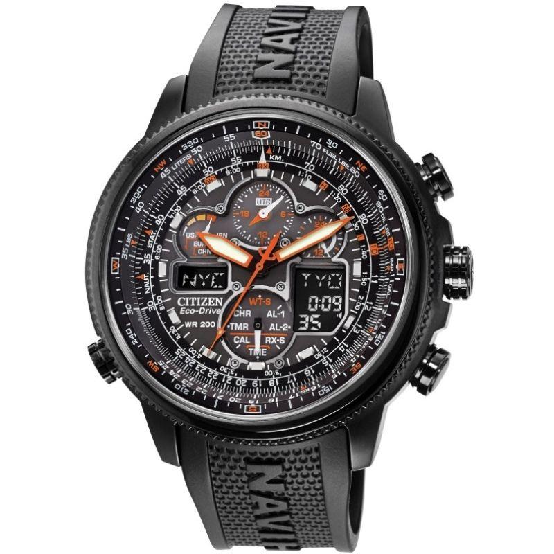 Mens Citizen Navihawk Alarm Chronograph Radio Controlled Watch