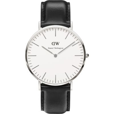 Daniel Wellington Sheffield Silver 40mm Herrenuhr in Schwarz DW00100020
