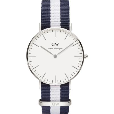 Mens Daniel Wellington Glasgow Silver 36mm Watch DW00100047