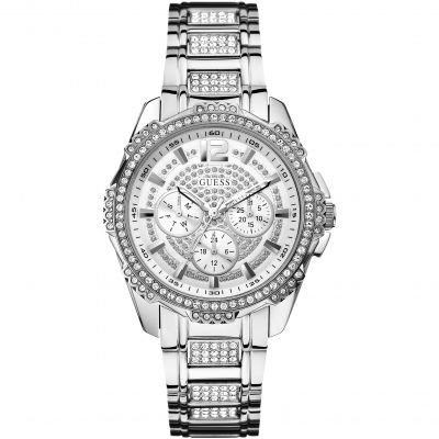GUESS Ladies silver and crystal bracelet watch