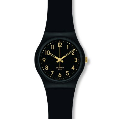 Swatch Original Gent Golden Tac Damenuhr in Schwarz GB274
