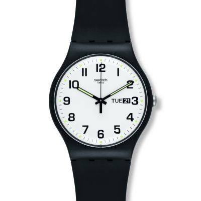 Swatch Originals New Gent Twice Again Unisexuhr in Schwarz SUOB705