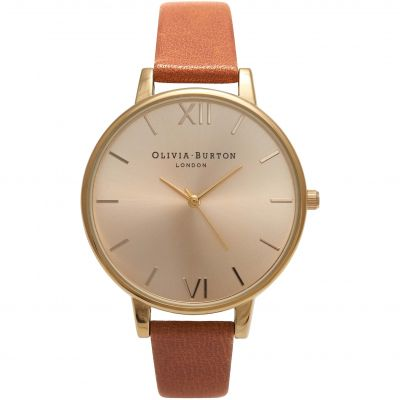 Olivia Burton Big Dial Big Dial Rose Gold & Tan Damenuhr in Beige OB13BD09