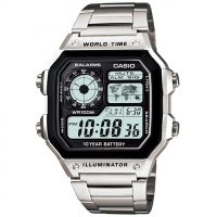 Mens Casio World Time Alarm Chronograph Watch AE-1200WHD-1AVEF