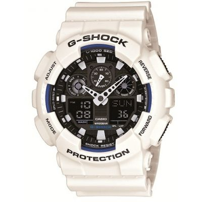 Casio G-Shock Herrenchronograph in Weiß GA-100B-7AER