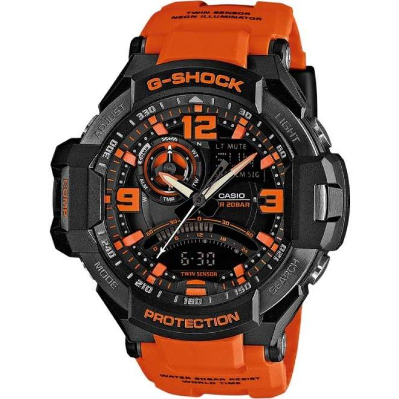 Mens Casio G-Shock Sky Cockpit Alarm Chronograph Watch GA-1000-4AER