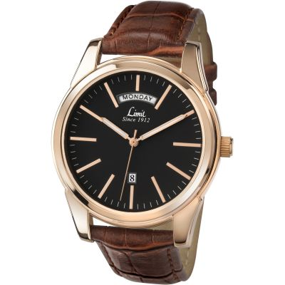 Mens Limit Rose Gold Plated Day Date Watch 5484.01