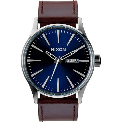 Mens Nixon The Sentry Leather Watch A105-1524