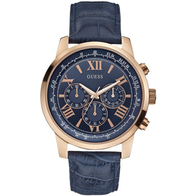 GUESS Men's blue leather strap watch with a rose gold case