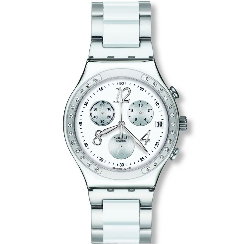 Ladies Swatch Dreamwhite Chronograph Watch