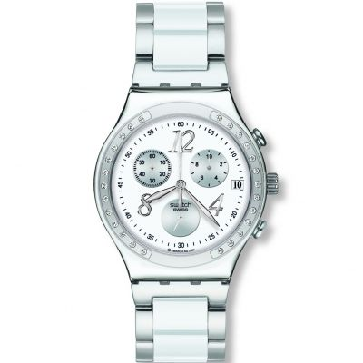 Ladies Swatch Dreamwhite Chronograph Watch YCS511GC