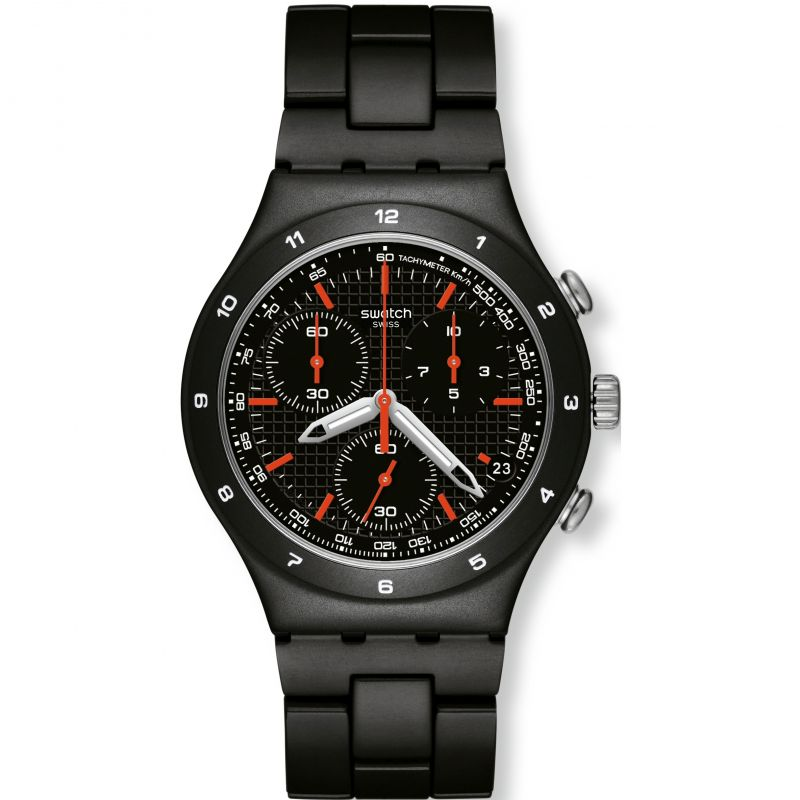 Mens Swatch Black Coat Chronograph Watch