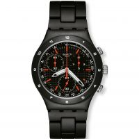 Mens Swatch Black Coat Chronograph Watch YCB4019AG