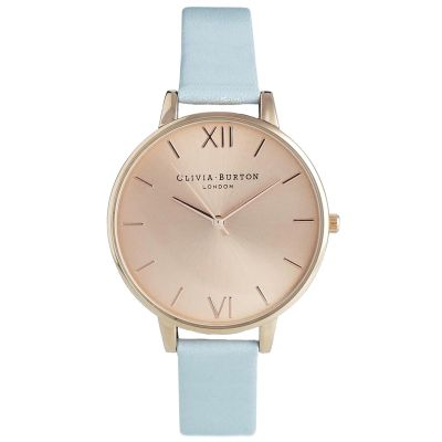 Sunray Rose Gold & Powder Blue Watch