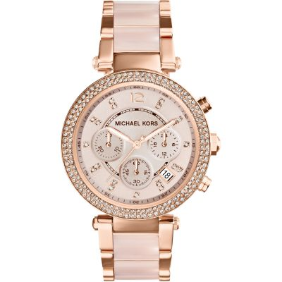 Ladies Michael Kors Parker Chronograph Watch Rose Gold MK5896