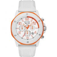 Mens Bulova Marine Star Duramic White Chronograph Watch 98B199