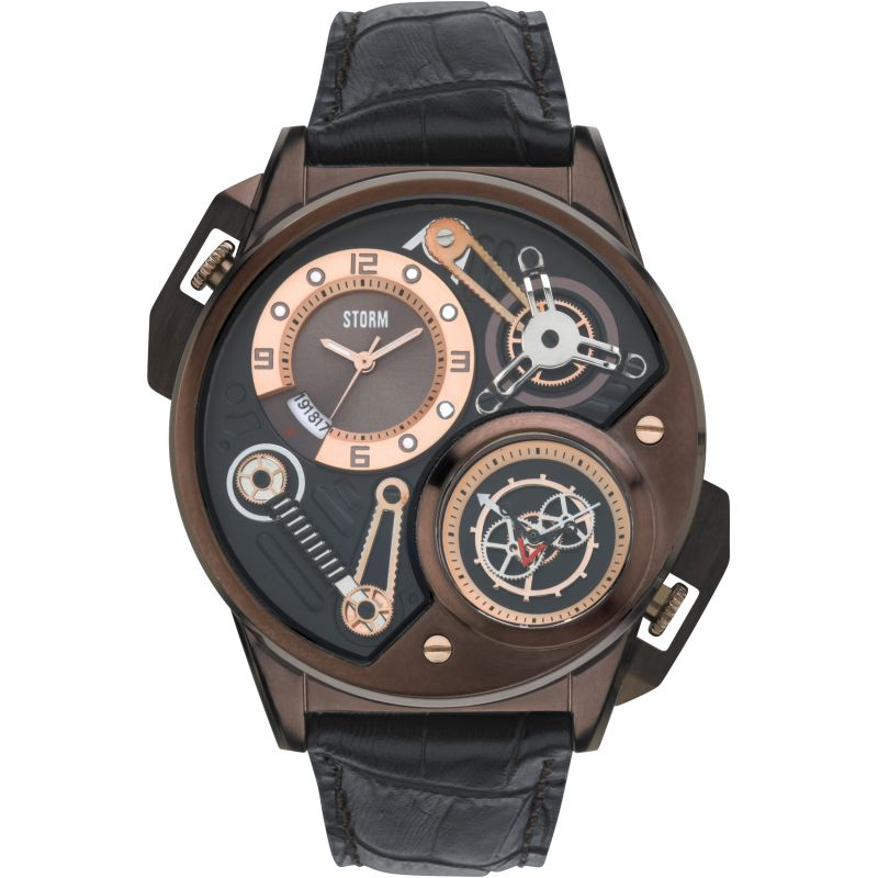 Mens Storm Dualtron Leather Watch