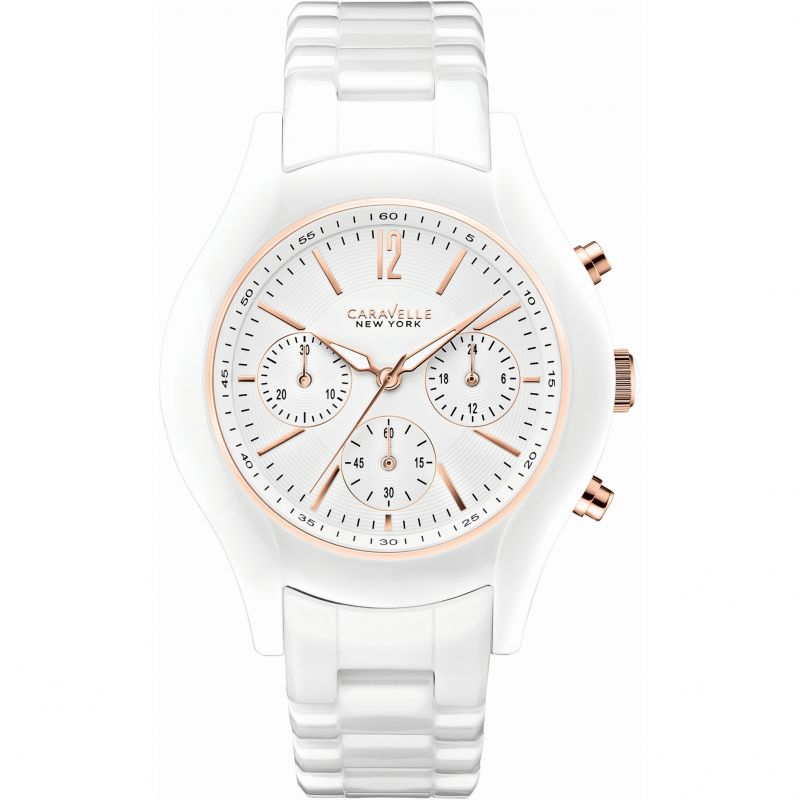 Ladies Caravelle New York Emma Ceramic Chronograph Watch