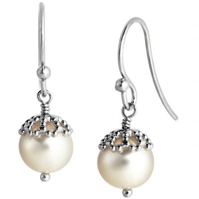 Jersey Pearl Dames Emma-Kate Freshwater Pearl Drop Earrings Sterling Zilver EKDE-RW
