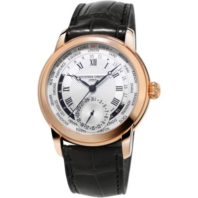 Frederique Constant Classic Manufacture Worldtimer Herrenuhr in Braun FC-718MC4H4
