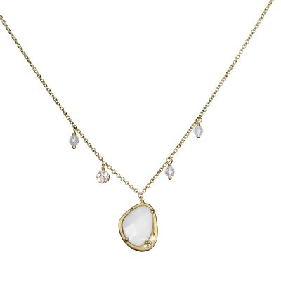 Bijoux Femme Shimla Collier With White Agate and Cz SH624