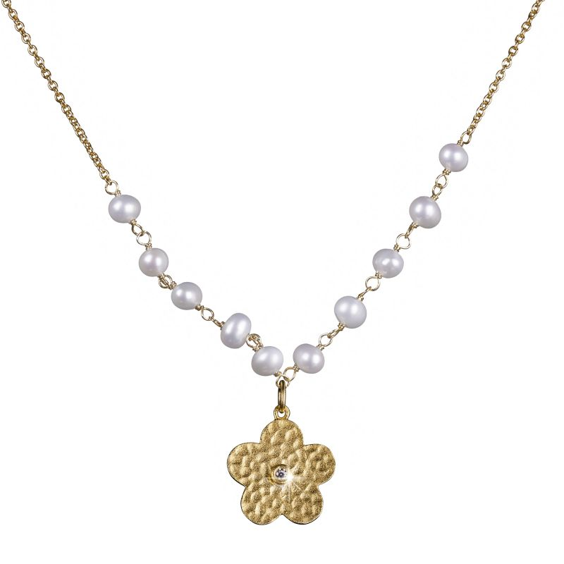 Ladies Shimla PVD Gold plated Flower Necklace With Pearls and Cz SH637