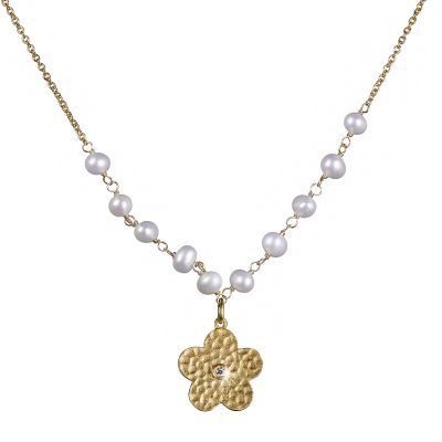Shimla Dam Flower Necklace With Pearls and Cz PVD guldpläterad SH637