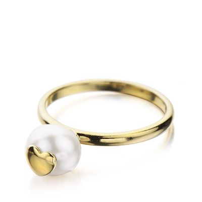 Ladies Shimla PVD Gold plated Size O Ring With Heart Fresh Water Pearl SH641
