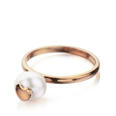 Shimla Dam Ring With Heart Fresh Water Pearl PVD roséguldspläterad SH642