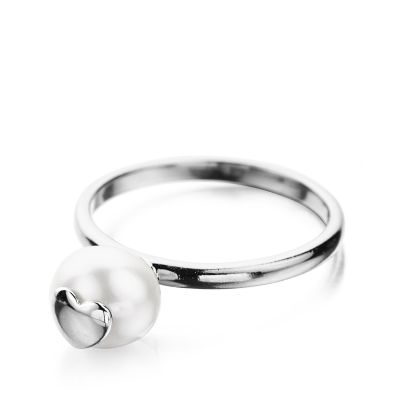Shimla Dam Ring With Heart Fresh Water Pearl Rostfritt stål SH643