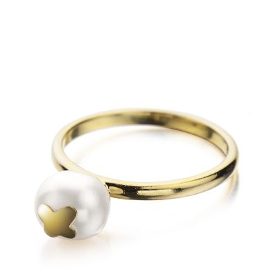 Ladies Shimla PVD Gold plated Size O Ring With Butterfly Fresh Water Pearl SH644