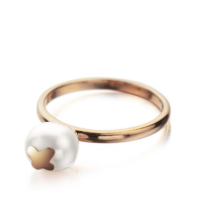 Ladies Shimla PVD rose plating Size O Ring With Butterfly Fresh Water Pearl SH645