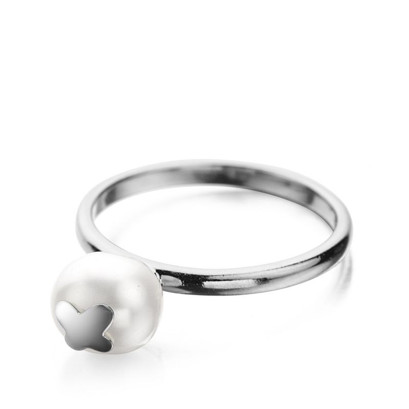 Ladies Shimla Stainless Steel Size O Ring With Butterfly Fresh Water Pearl SH646