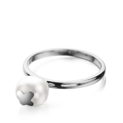 Shimla Dam Ring With Butterfly Fresh Water Pearl Rostfritt stål SH646