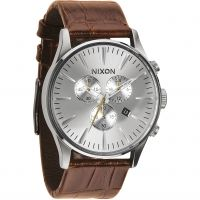 Mens Nixon The Sentry Chrono Leather Chronograph Watch A405-1888