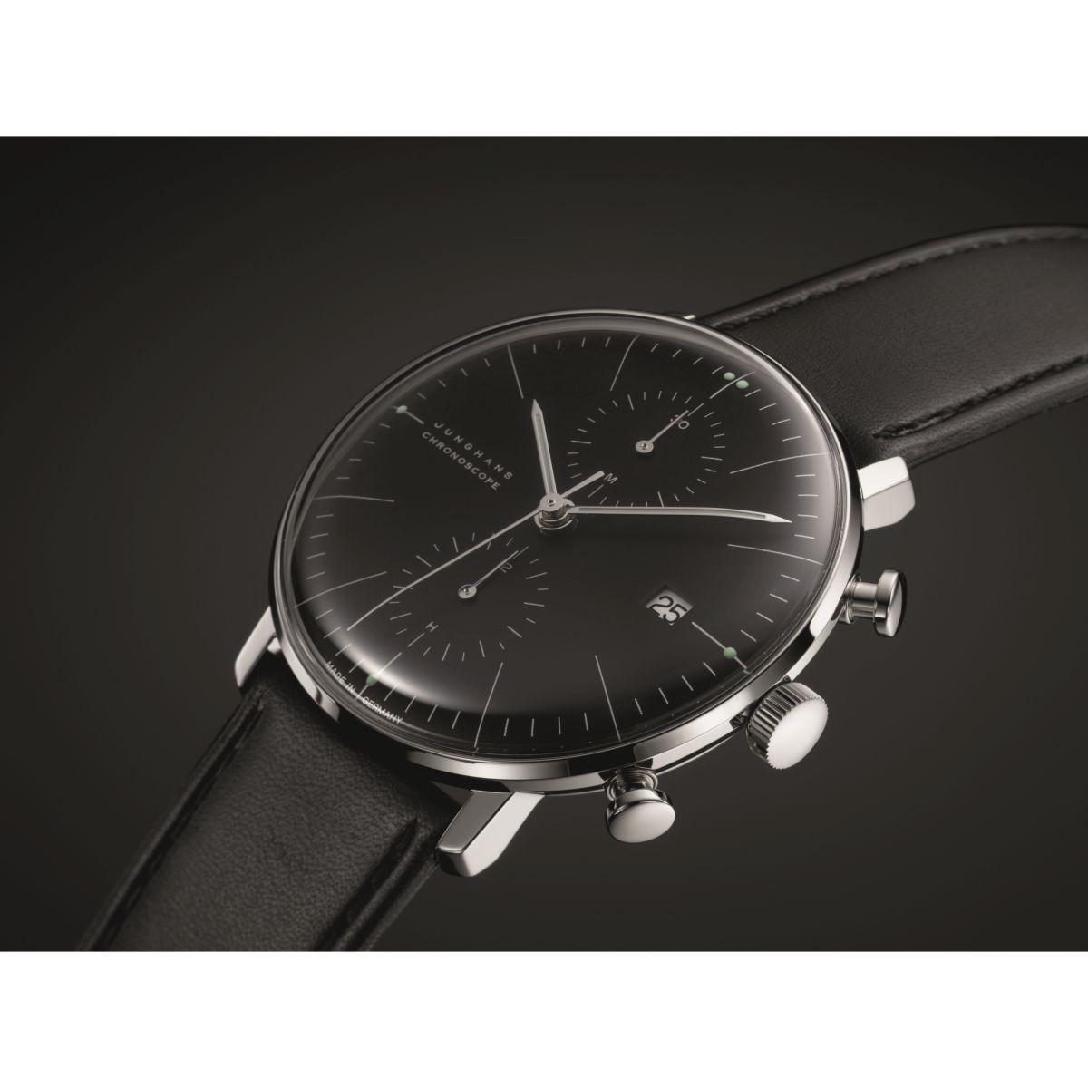 gents junghans max bill chronoscope chronograph watch 027. Black Bedroom Furniture Sets. Home Design Ideas