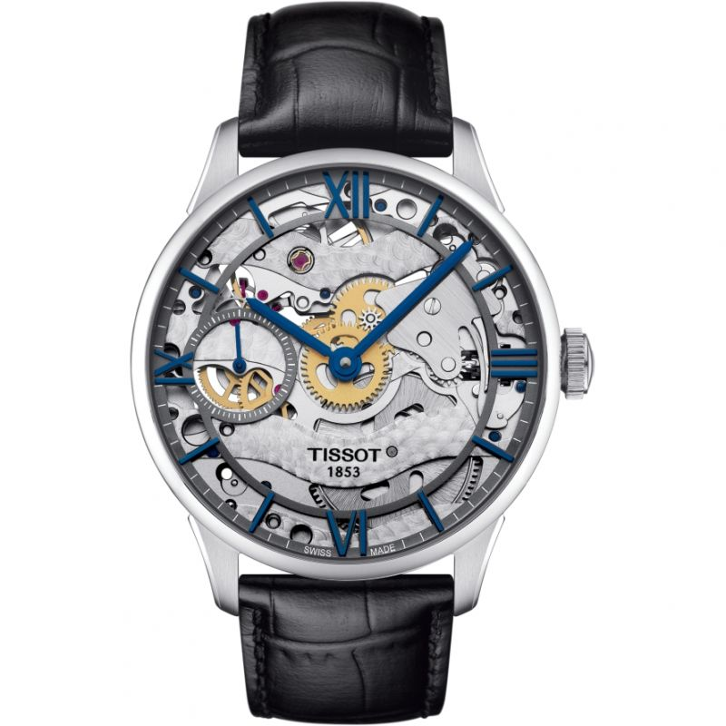 Mens Tissot Chemin des Tourelles Squelette Mechanical Watch T0994051641800