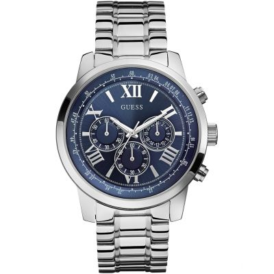 GUESS Men's silver bracelet watch with a blue dial