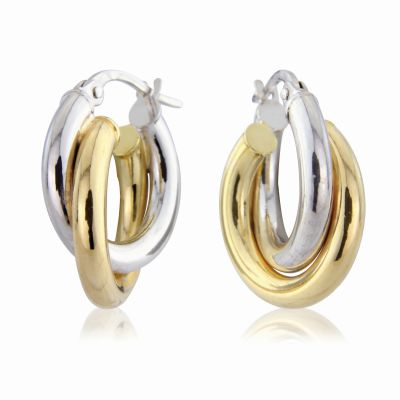 Jewellery Multi colour gold White and Yellow Hoop Earrings