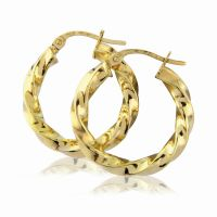 Jewellery 9ct Gold Modern Twisted Hoop Earrings