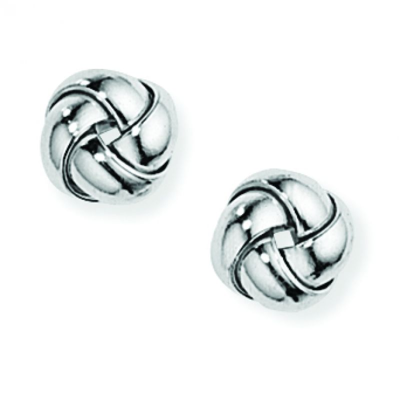 Jewellery 9ct White Gold White Knot Earrings