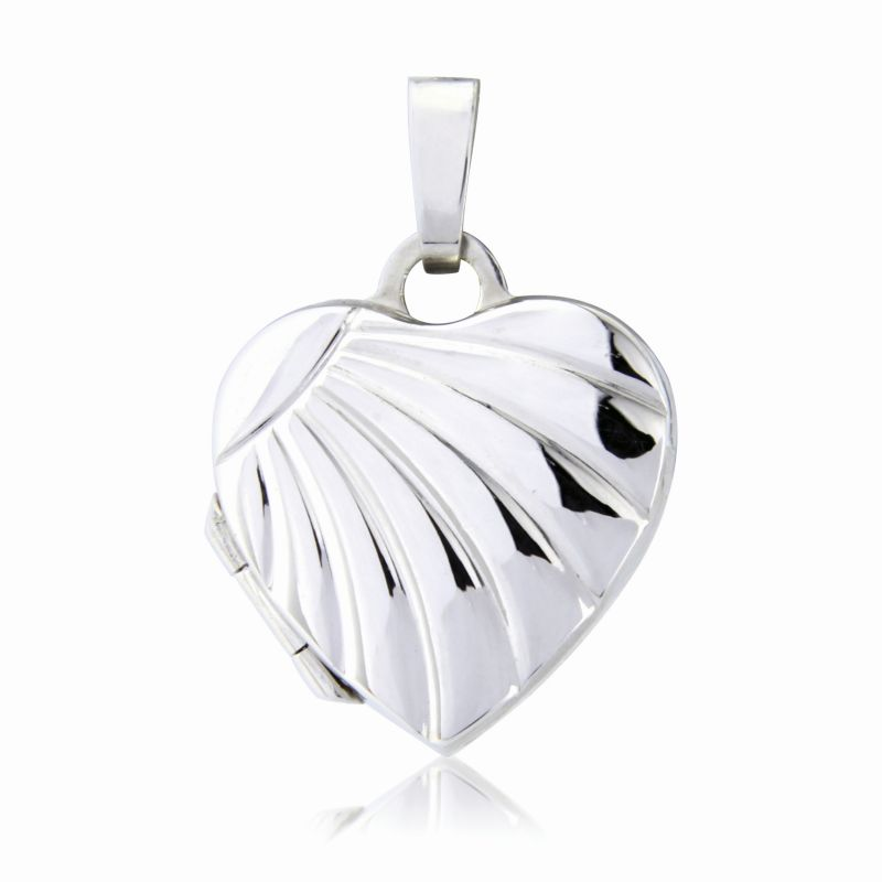 Jewellery 9ct White Gold White Heart Shaped embossed Locket