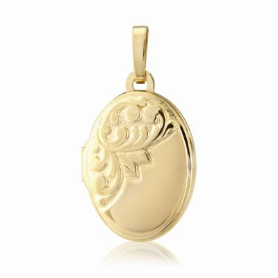 Jewellery Engraved Oval Locket 9K Goud