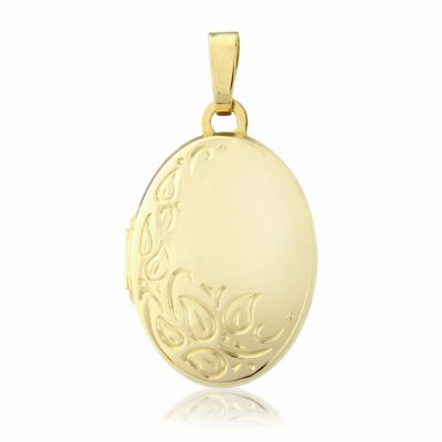 Jewellery 9ct Gold Engraved Oval Locket