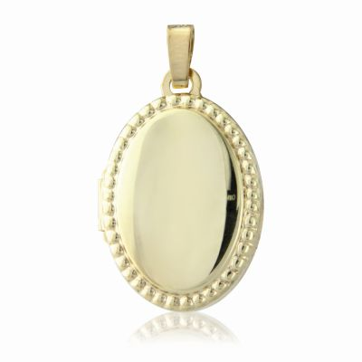 Jewellery Beaded Edge Oval Locket 9K Goud