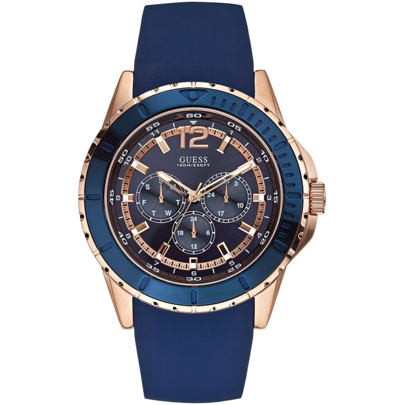 GUESS Men's rose gold and blue silicone watch
