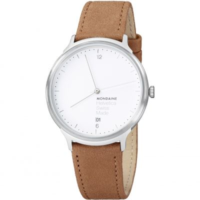 Mondaine Light 38mm Helvetica No1 Herrenuhr in Braun MH1L2210LG