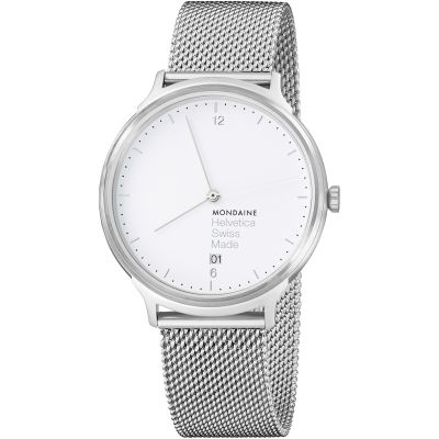 Mondaine Light 38mm Helvetica No1 Herrenuhr in Silber MH1L2210SM