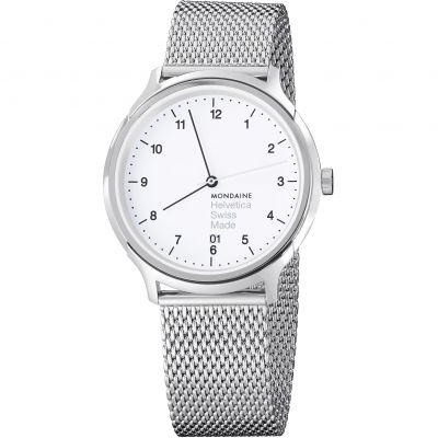 Mondaine Regular 40mm Helvetica No1 Herrenuhr in Silber MH1R2210SM