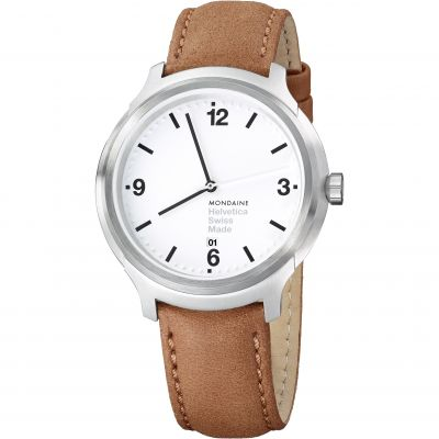 Mondaine Bold 43mm Helvetica No1 Herrenuhr in Braun MH1B1210LG